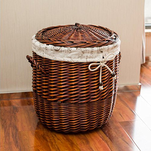 Aufbewahrungskorb Braun Durchmesser 42cm hoch 45cm Aufbewahrungsbehälter Dirty Clothes Rattan Dirty Clothes Basket Wäschekorb Covered Dirty Basket Weide Rollsnownow