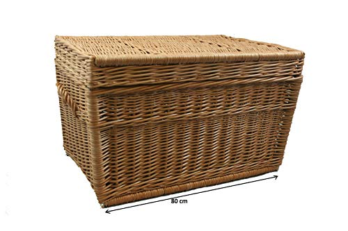 weeco Weidenkorb XL, Korbtruhe extra groß 80cm Deckel Wicker Chest