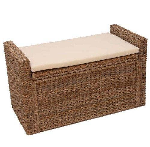 aufbewahrungstruhe sitzbank m92 mit kissen 88cm kubu grau. Black Bedroom Furniture Sets. Home Design Ideas